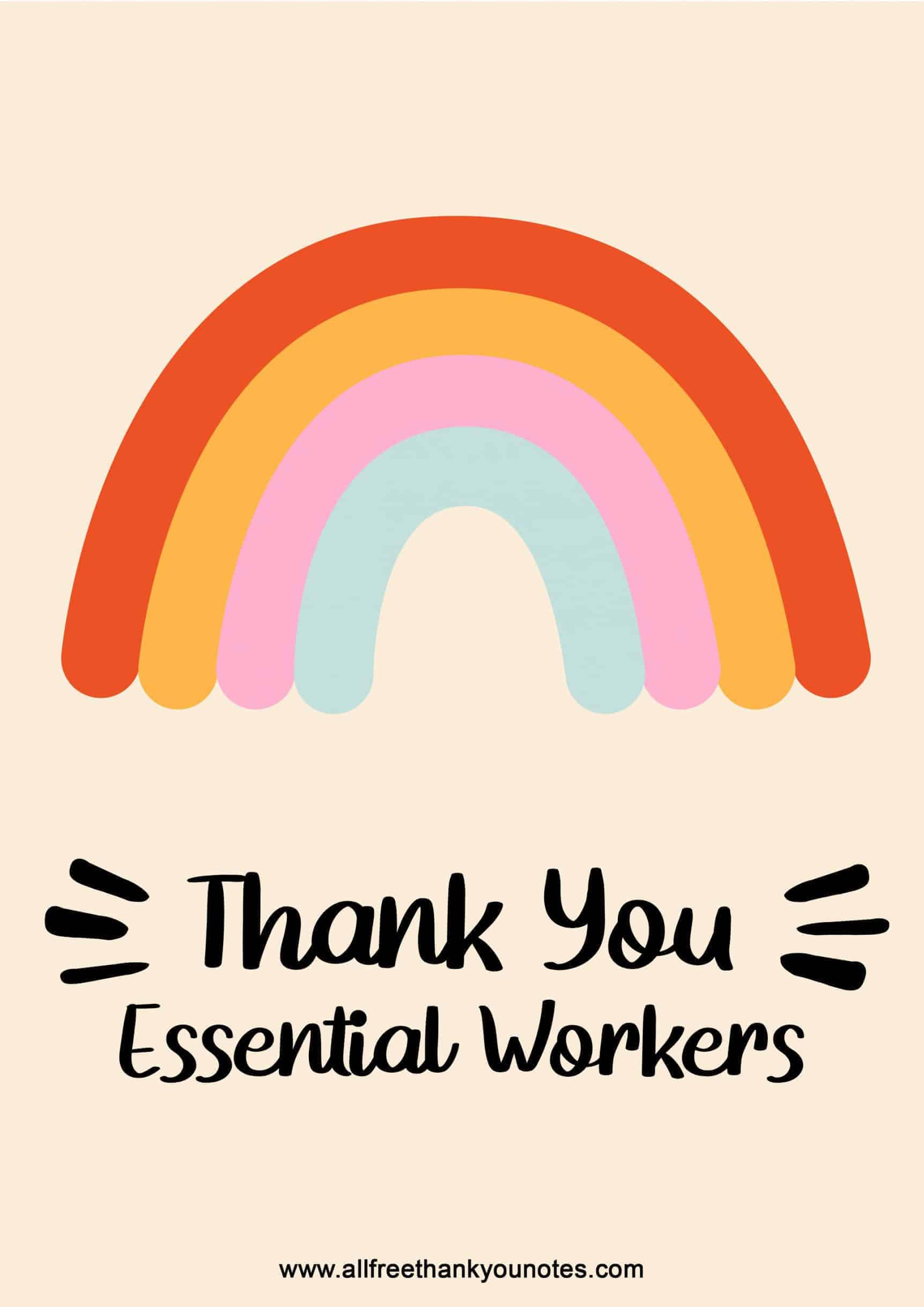 Thank you essential workers rainbow cute design