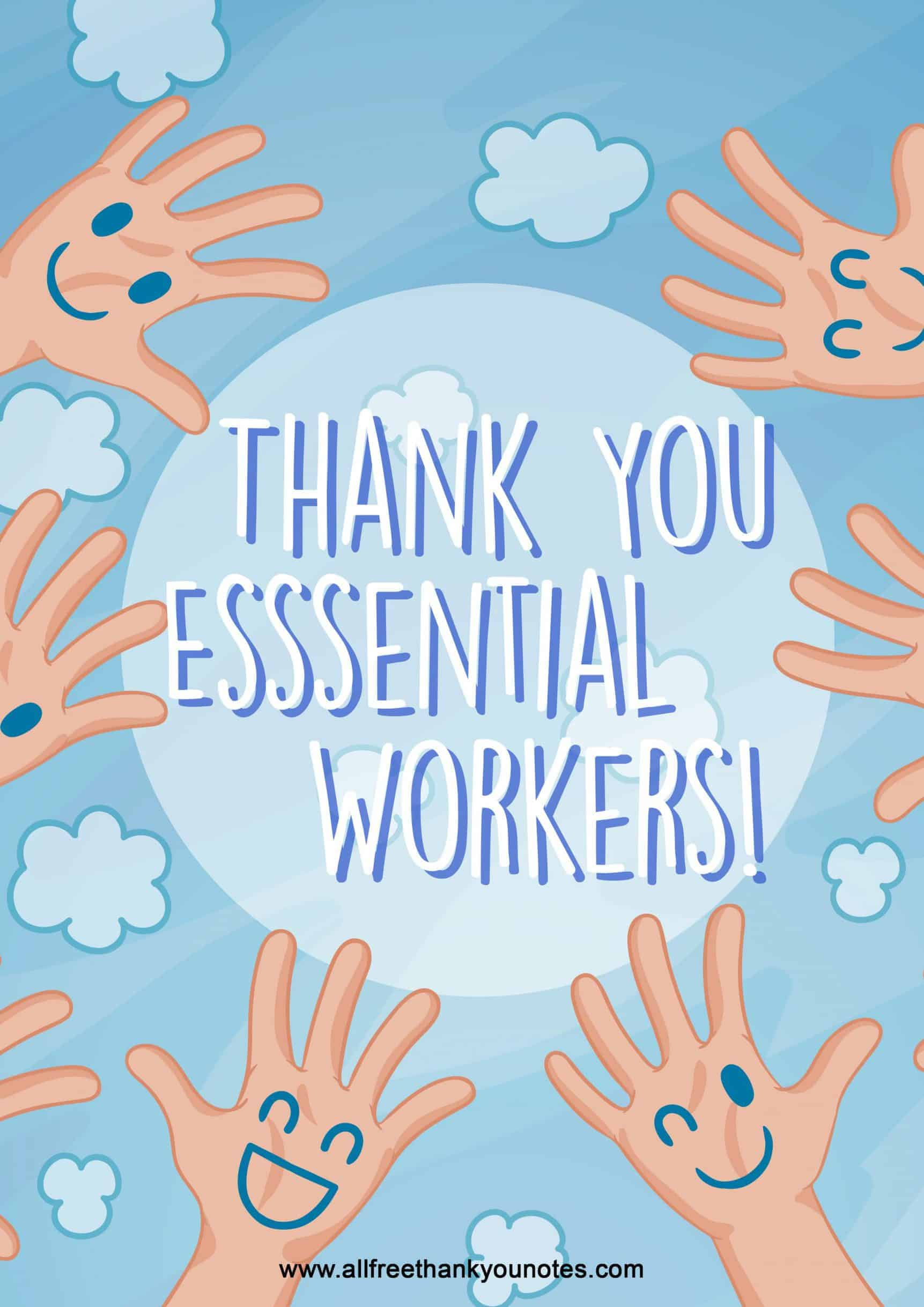 Thank you essential workers childrens printable