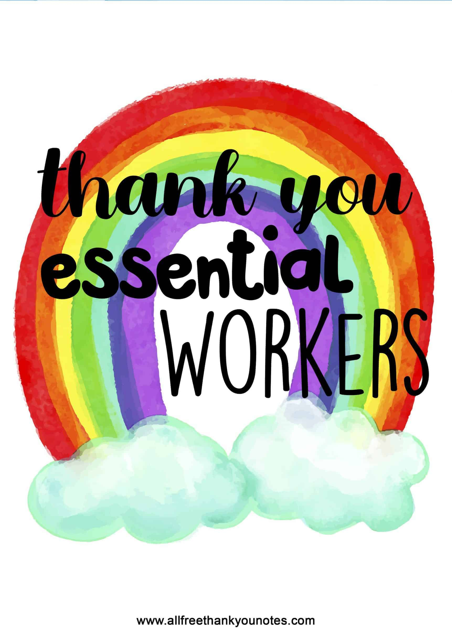 Beautiful bright rainbow thank you essential workers print at home sheet