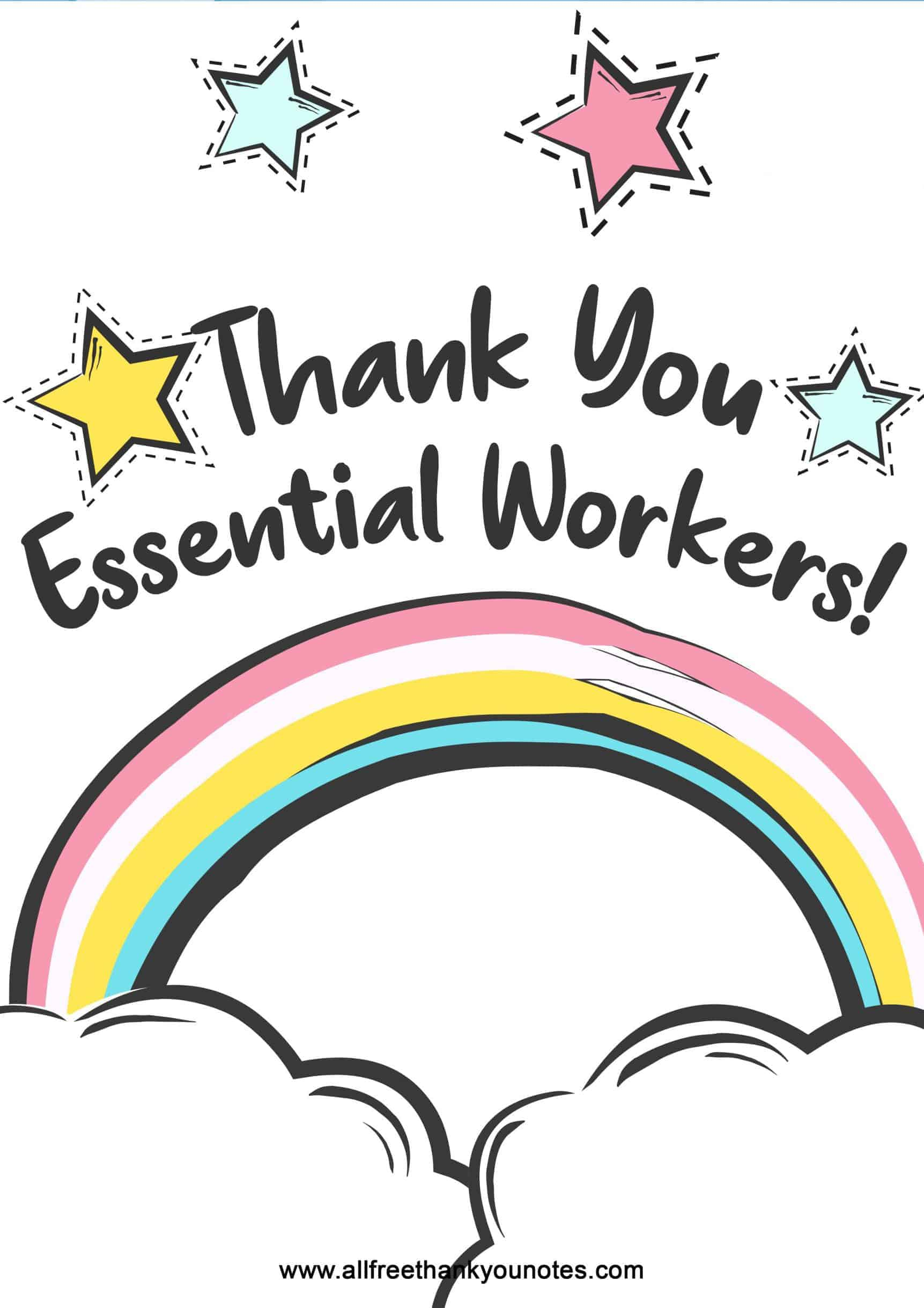 Stars and rainbows essential worker thank you poster