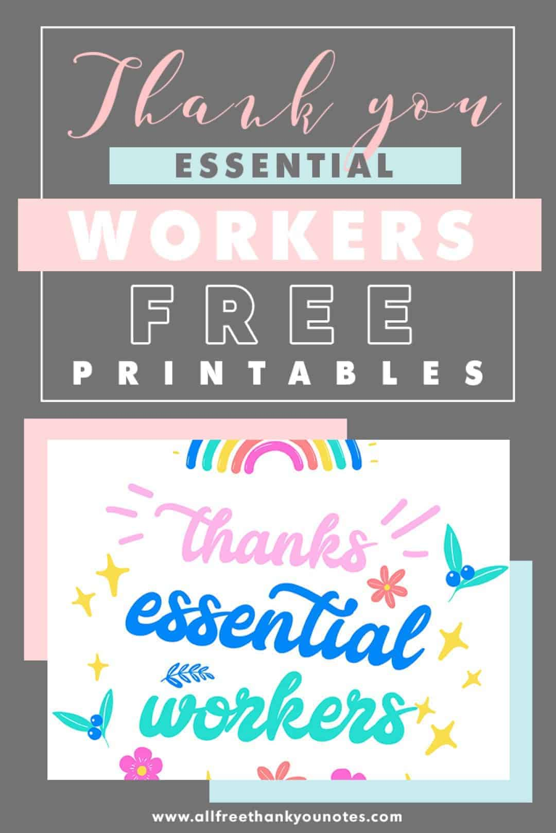 Thank you essential workers free printables