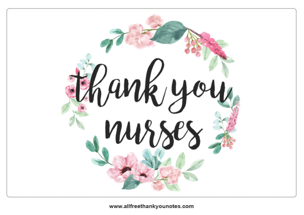 Thank you nurses floral note modern