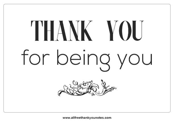 thank you for being you valentines note black and white