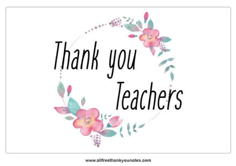 thank you teacher note floral circle pink green