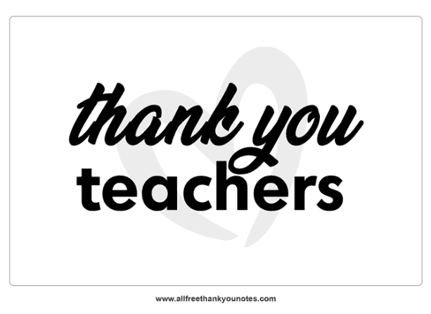 thank you teachers note black white with heart