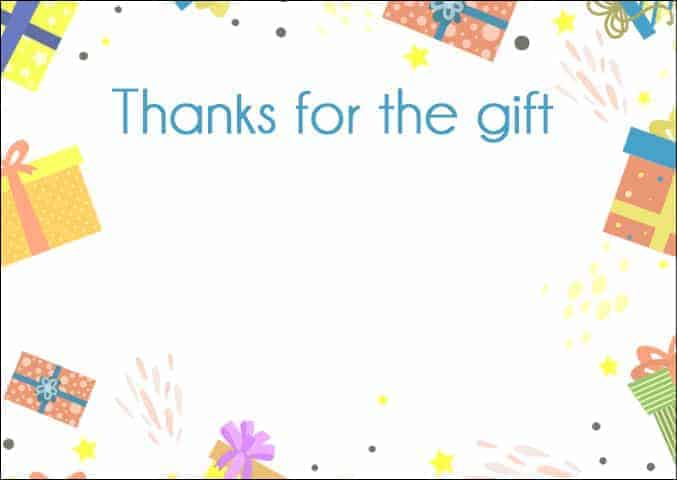 Thanks for the gift bright printable - all free thank you notes