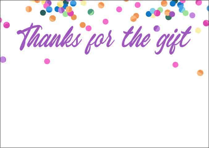 Thank you note - bright confetti design - all free thank you notes