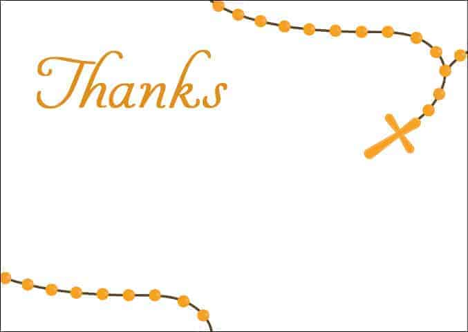 Rosary beads on white background - religious thank you note