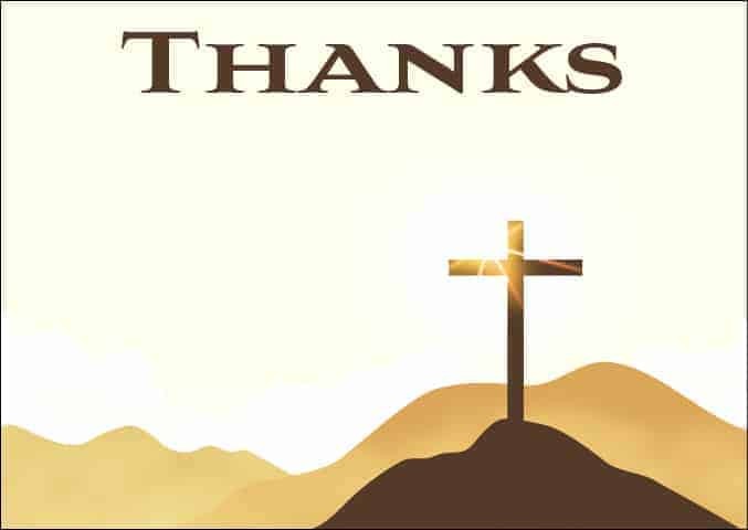 Cross on a hill - religious themed thank you notes