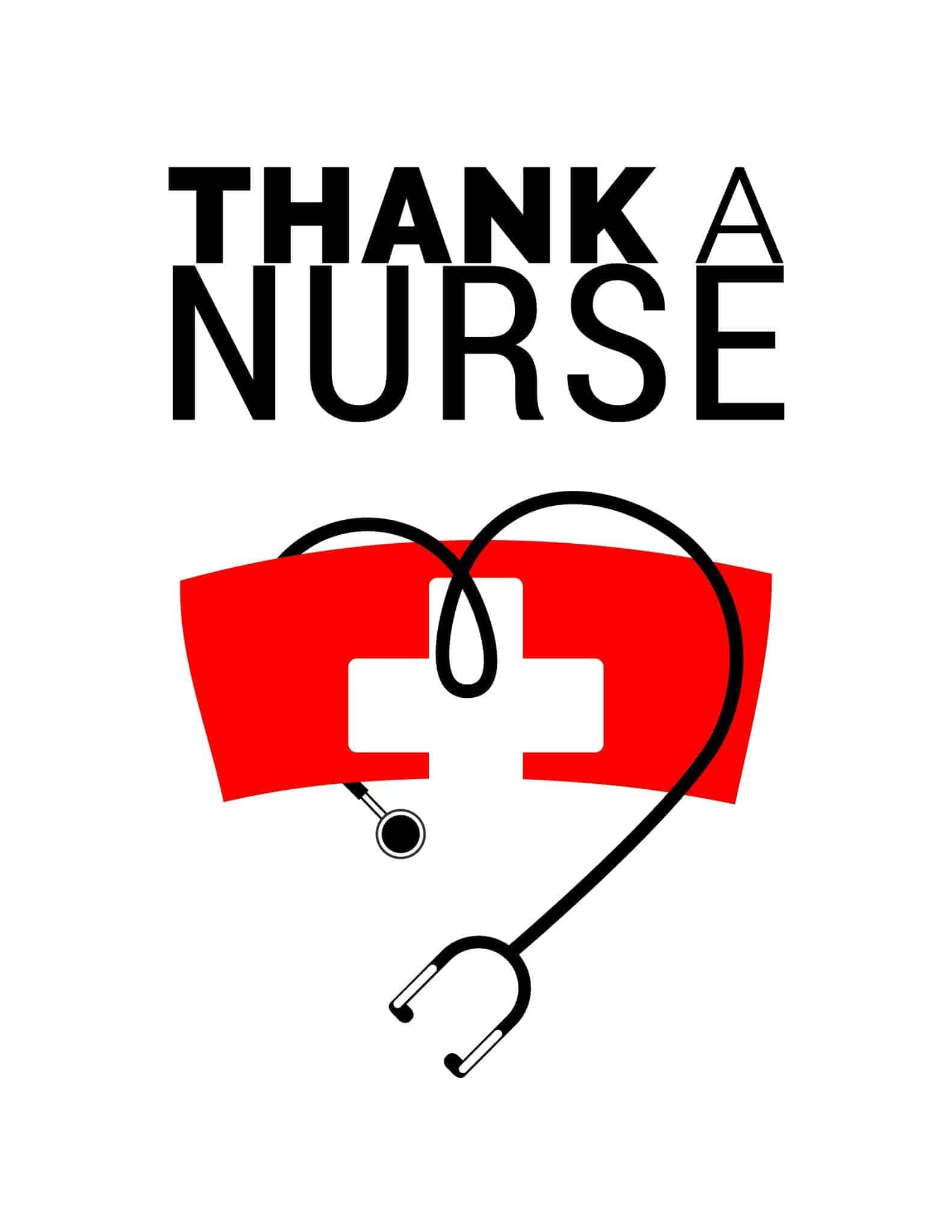 Thank a Nurse - Health Nurse Red - All Free Thank You Notes