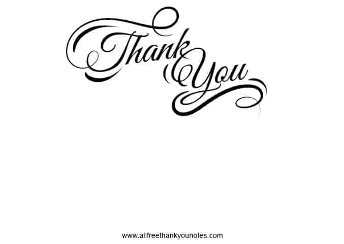 Black and White Thank You - All Free Thank You Notes