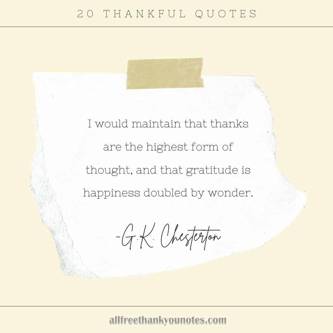 20 Thankful Quotes - All Free Thank You Notes