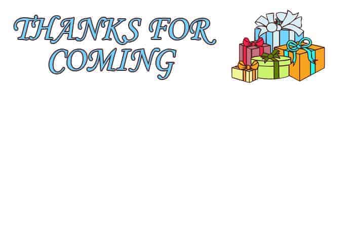 Thanks for Coming - All Free Thank You Notes